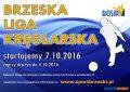 Plakat zachęcający do wzięcia udziału w Brzeskiej Lidze Kręglarskiej